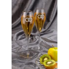 """2973 Набор для шампанского """"Свадебные"""", 2 бок,h26"""