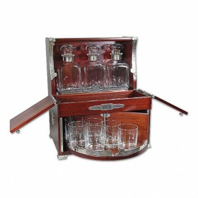 9513 Бар-бюро, 3 графина+6 стаканов, 37*28*45см