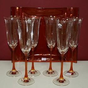 Набор бокалов для шампанского (6 шт.) на оранжевой ножке